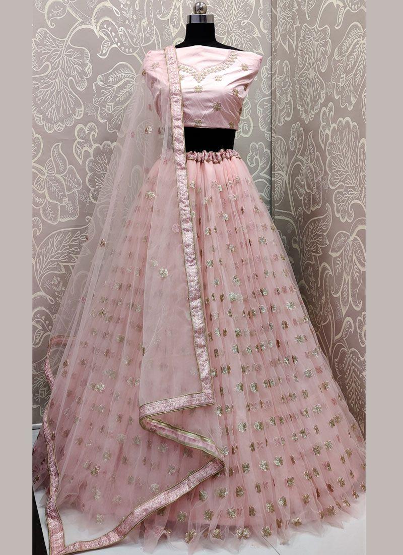 Pink Sequins Net Trendy A Line Lehenga Choli