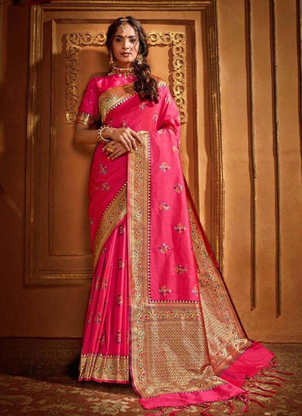 Pink Silk Classic Saree