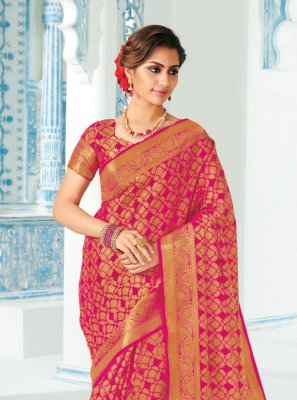 Pink Silk Festival Designer Traditional Saree
