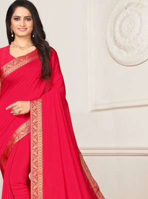 Pink Silk Lace Casual Saree