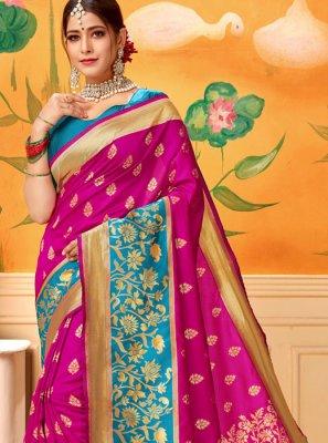 Pink Silk Mehndi Trendy Saree