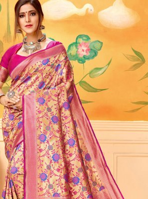 Pink Silk Print Traditional Saree