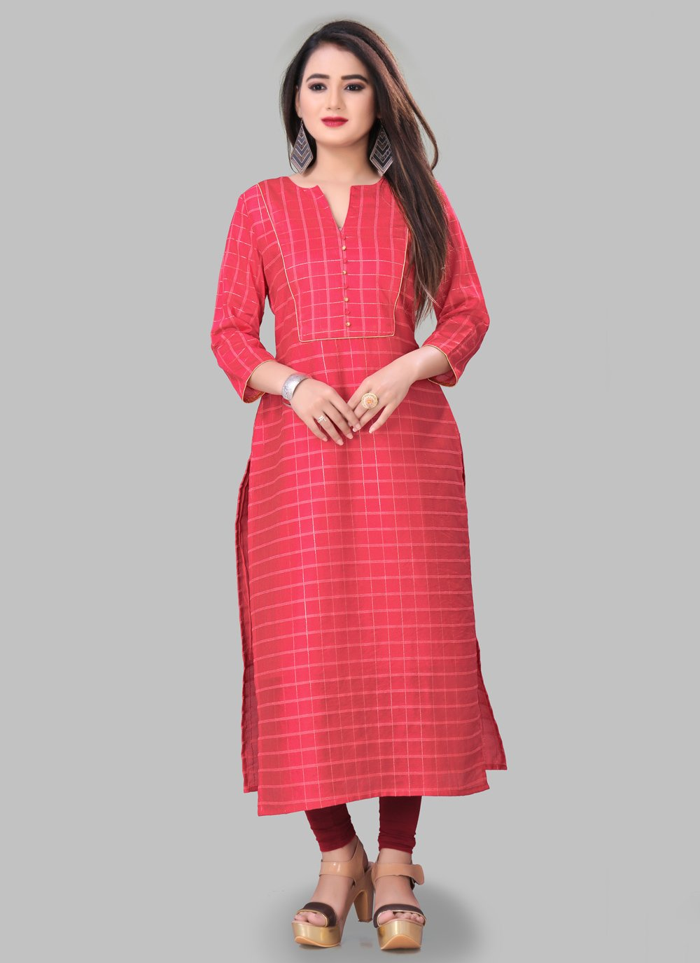 Pink Silk Printed Party Wear Kurti
