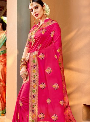 Pink Silk Weaving Classic Saree