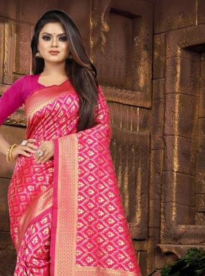 Pink Silk Weaving Contemporary Saree