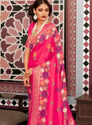 Pink Silk Weaving Designer Saree