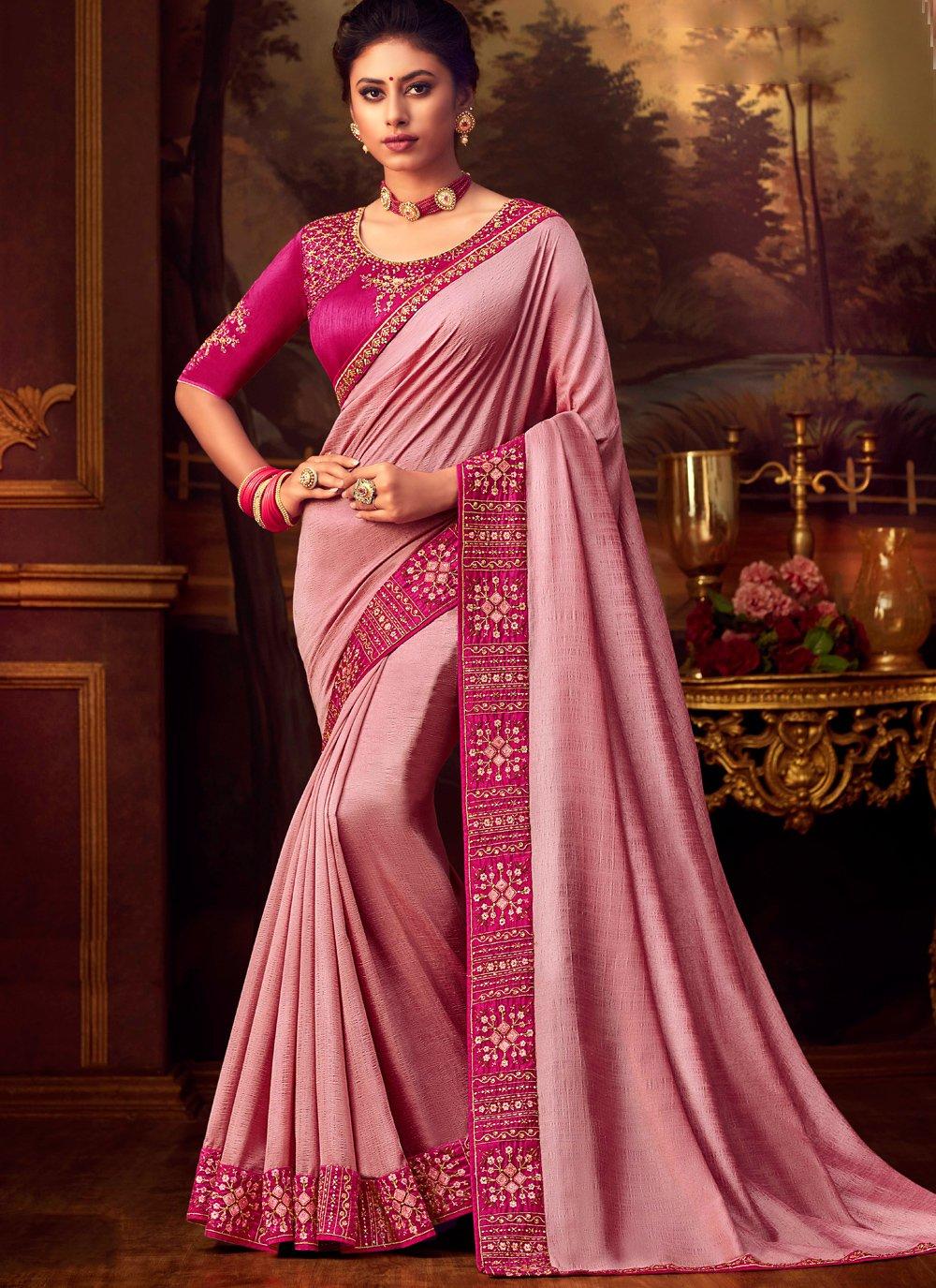 Pink Silk Wedding Designer Saree