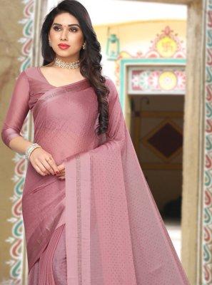 Pink Stone Work Satin Saree