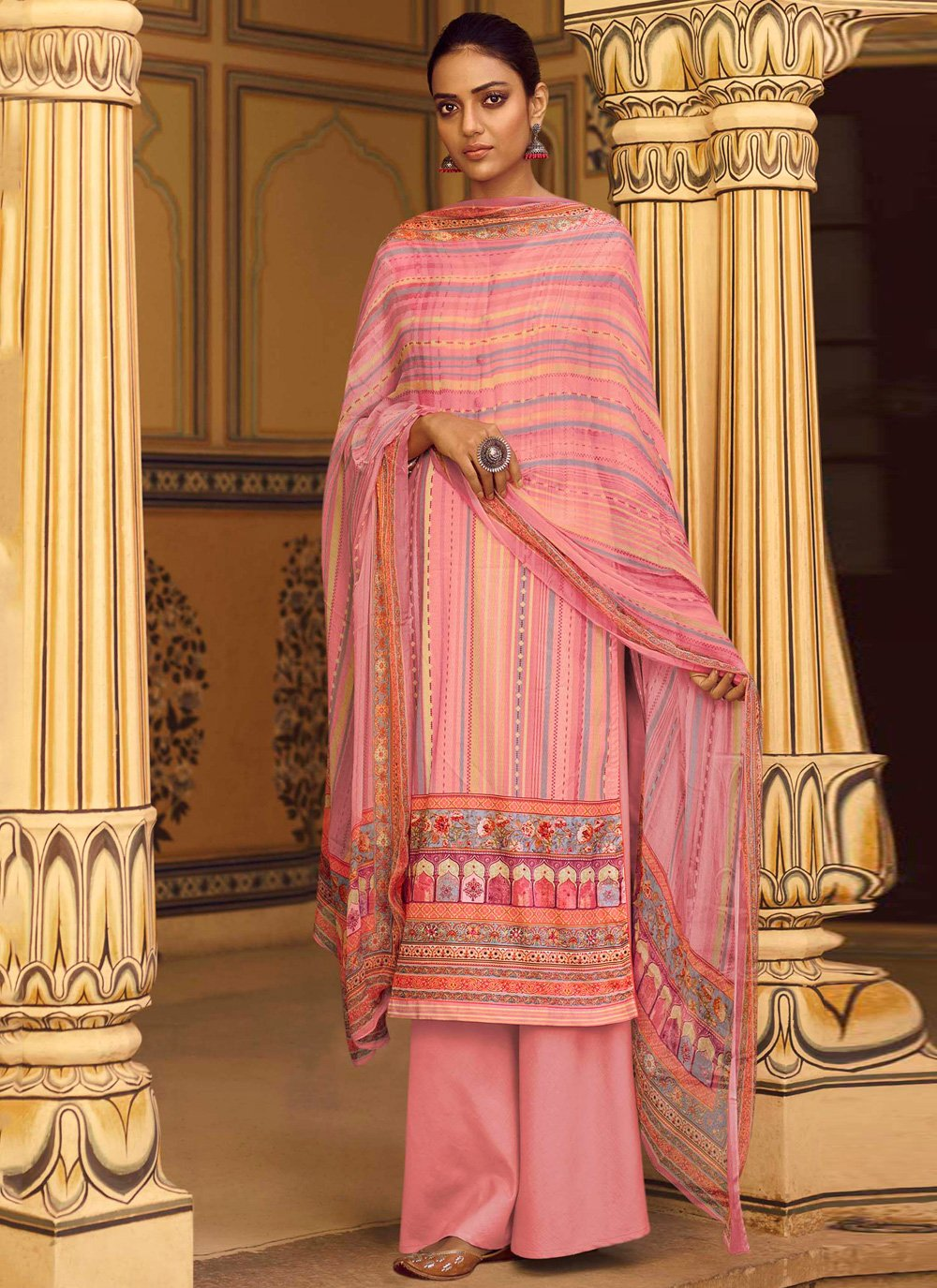 Pink Stripe Print Party Designer Palazzo Suit