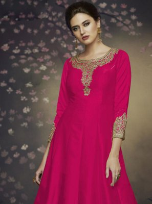 Pink Thread Art Silk Salwar Suit