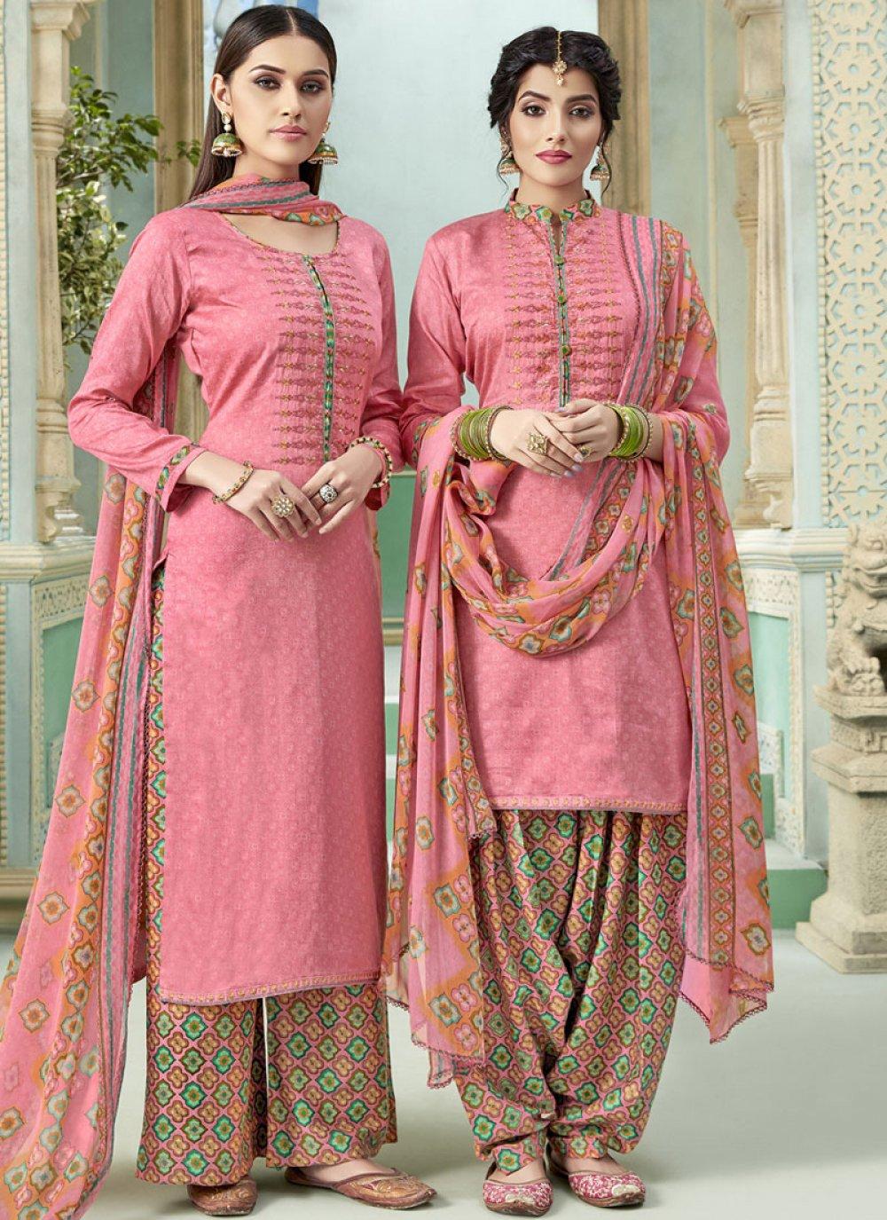Pink Thread Cotton Punjabi Suit