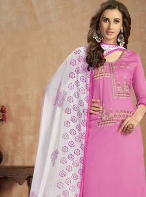 Pink Thread Work Cotton Salwar Suit