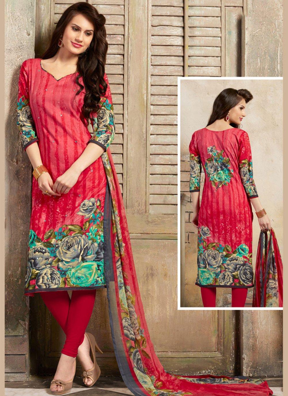 Pink Thread Work Trendy Churidar Salwar Kameez