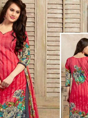 Pink Thread Work Trendy Churidar Salwar Kameez