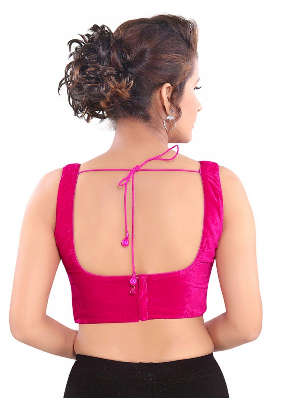 Shop Online Pink Velvet Party Blouse 160740
