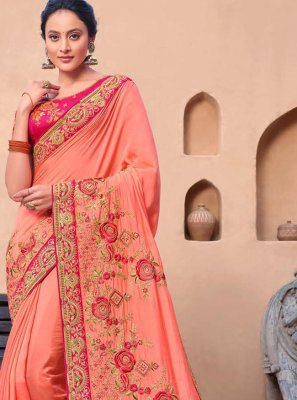 Pink Viscose Contemporary Saree