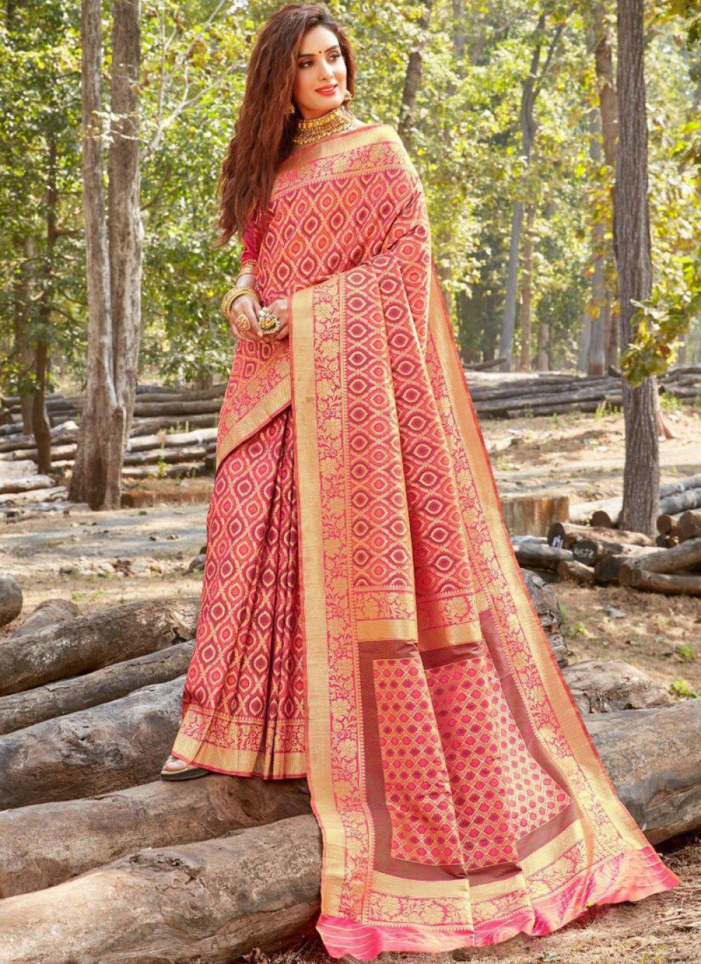 Pink Weaving Banarasi Silk Classic Saree