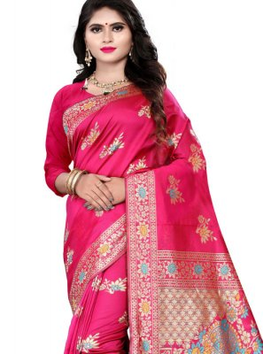 Pink Weaving Banarasi Silk Traditional Saree