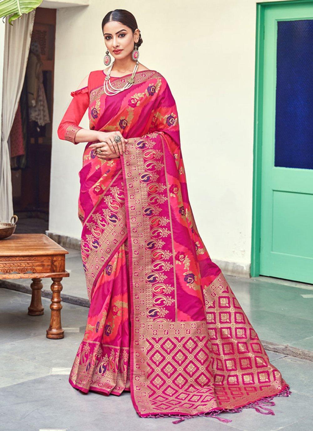 Pink Weaving Banarasi Silk Traditional Saree