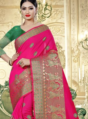 Pink Weaving Banarasi Silk Trendy Saree