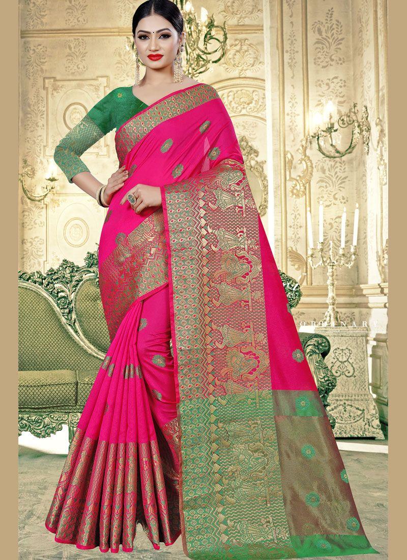 Pink Weaving Banarasi Silk Trendy Saree