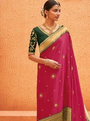 Pink Weaving Bollywood Saree