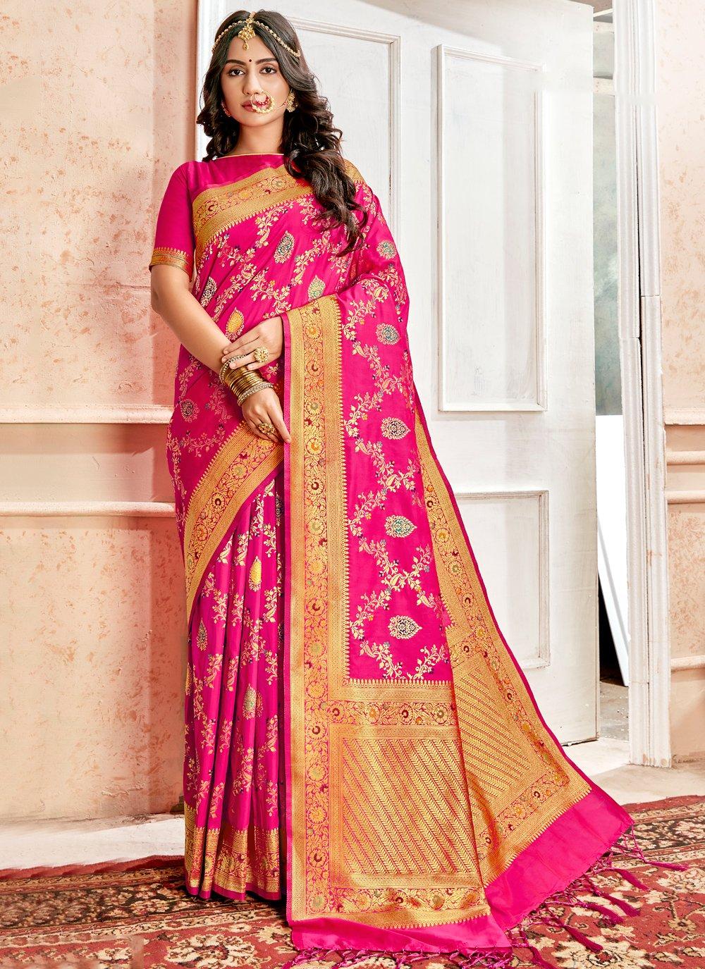 Pink Weaving Festival Designer Traditional Saree