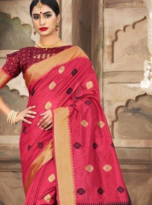 Pink Weaving Handloom Cotton Classic Saree