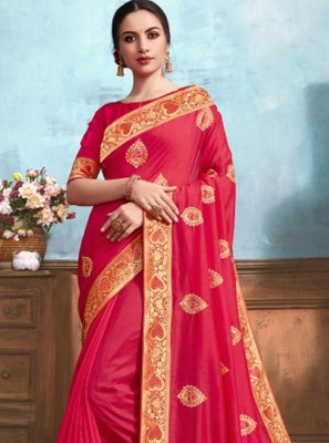 Pink Weaving Party Classic Saree