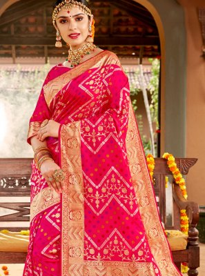 Pink Weaving Reception Classic Designer Saree