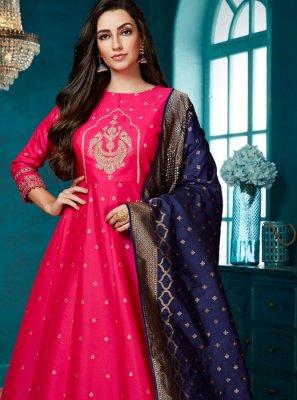 Pink Weaving Silk Anarkali Salwar Kameez