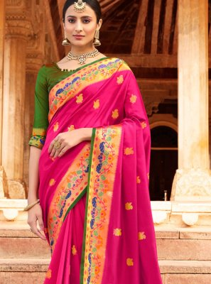 Pink Weaving Silk Classic Designer Saree