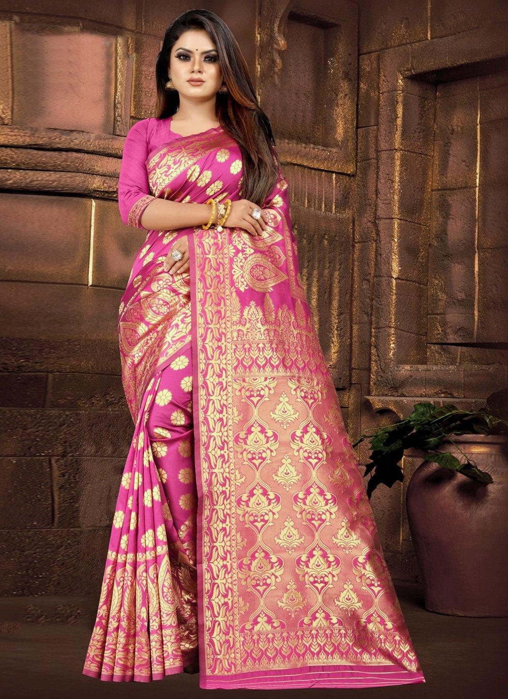 Pink Weaving Silk Classic Designer Saree