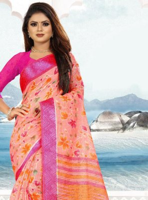Pink Weaving Silk Saree