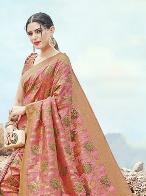 Pink Weaving Traditional Saree