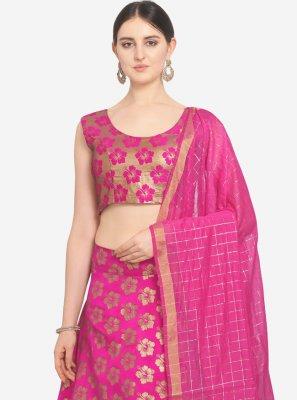 Pink Weaving Trendy Lehenga Choli