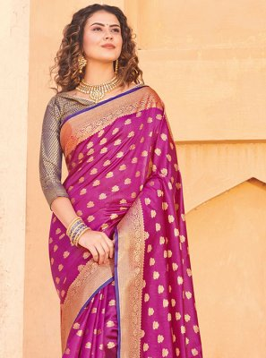 Pink Weaving Trendy Saree