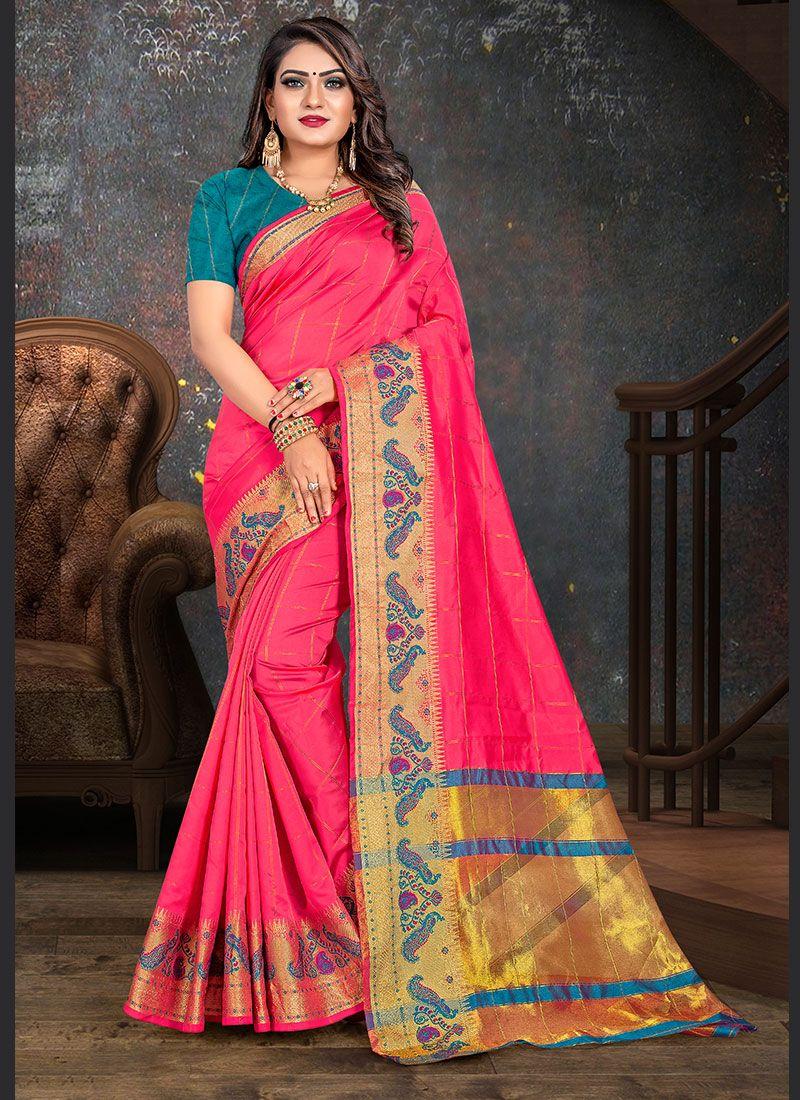 Pink Woven Casual Saree