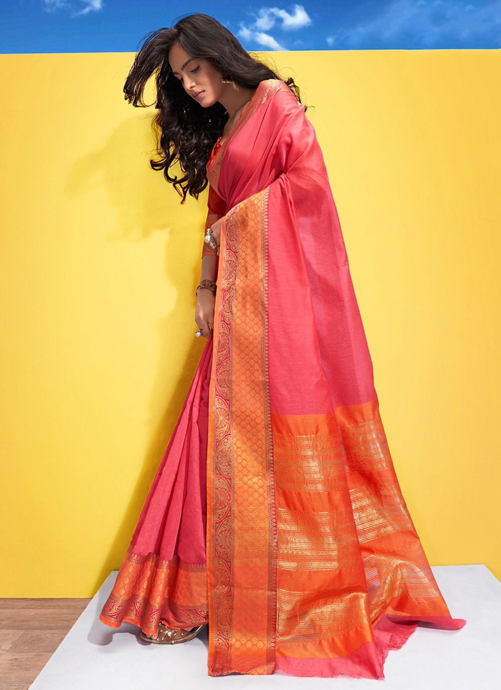 Pink Woven Contemporary Saree