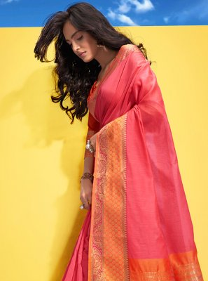 Pink Woven Contemporary Saree