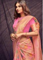 Pink Woven Cotton Casual Saree