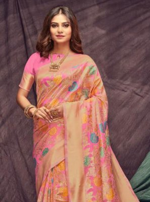 Pink Woven Cotton Casual Saree