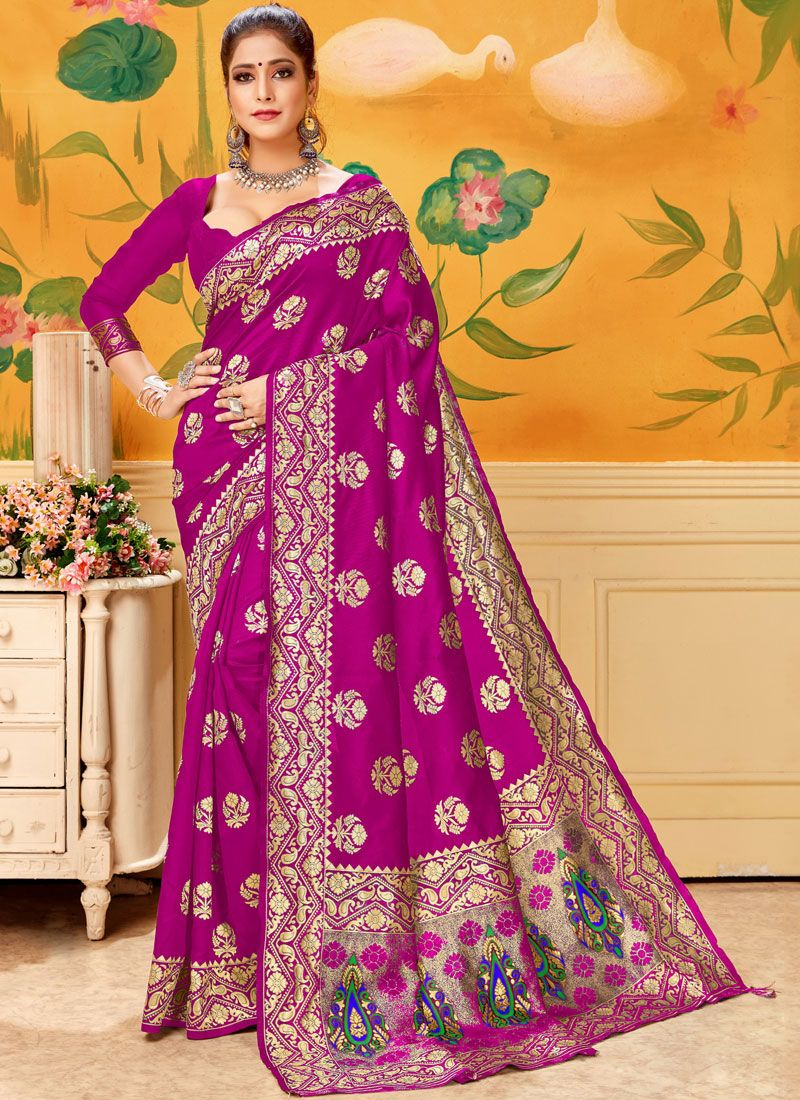 Pink Woven Trendy Saree