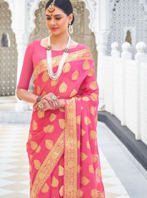 Pink Zari Faux Chiffon Traditional Saree