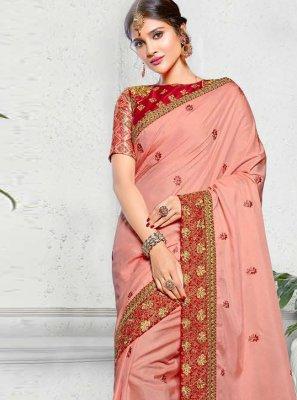 Pink Zari Mehndi Classic Saree