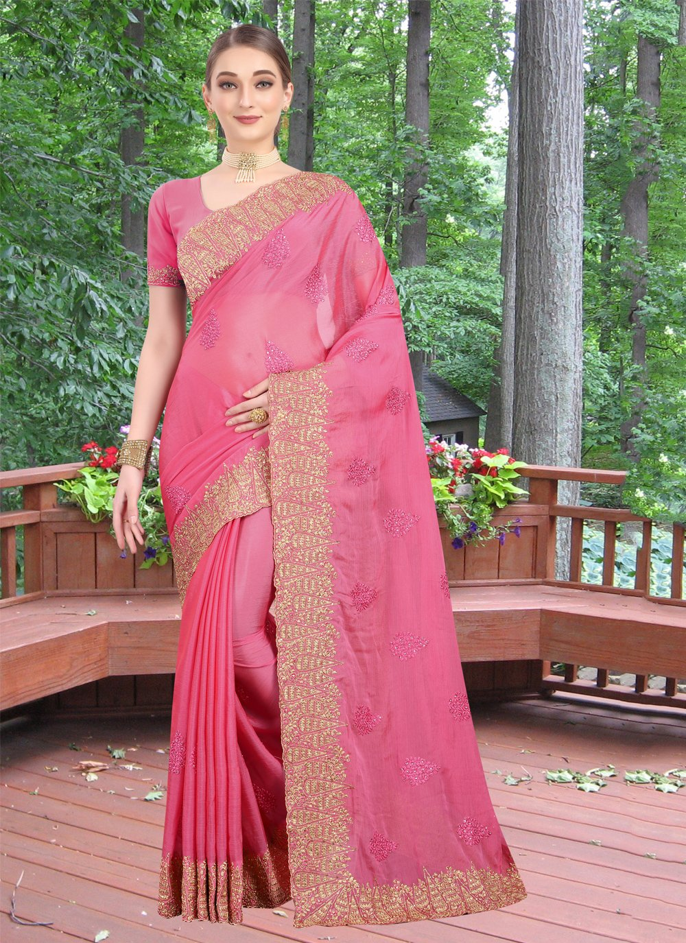 Pink Zari Reception Classic Designer Saree