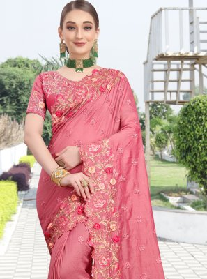 Pink Zari Traditional Saree