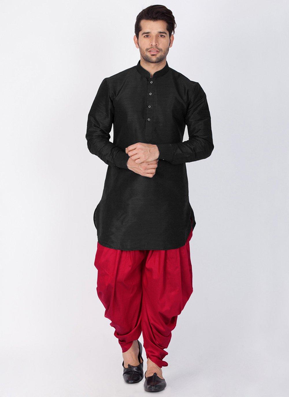 Plain Art Banarasi Silk Dhoti Kurta in Black