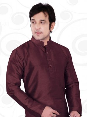 Plain Art Dupion Silk Kurta in Brown