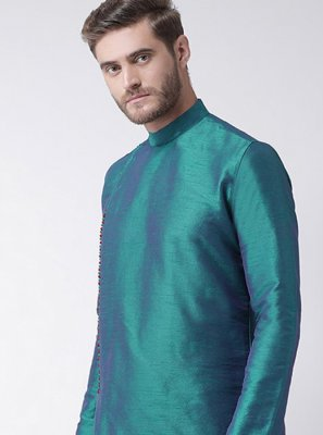 Plain Art Dupion Silk Kurta in Sea Green